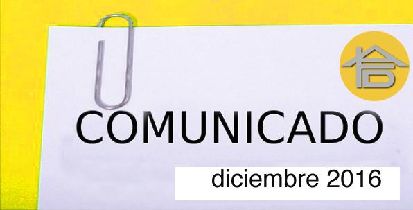 COMUNICADO DICIEMBRE 2016
