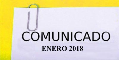 COMUNICADO ENERO 2018