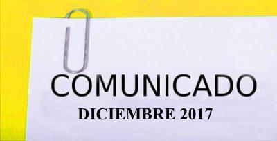 COMUNICADO DICIEMBRE 2017