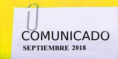 COMUNICADO SEPTIEMBRE 2018