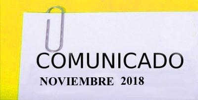 COMUNICADO NOVIEMBRE 2018