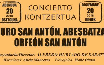 CONCIERTO/KONTZERTUA: CORO SAN ANTÓN, ABESBATZA ORFEÓN SAN ANTÓN