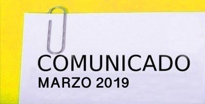 COMUNICADO MARZO 2019