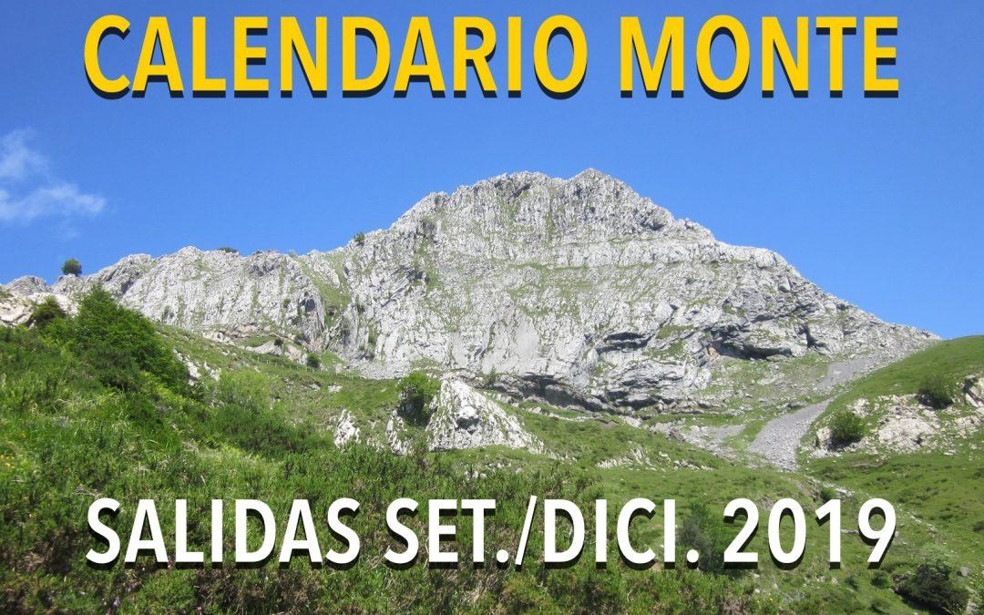 CALENDARIO MONTE SETIEMBRE/DICIEMBRE 2019