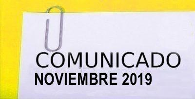 COMUNICADO NOVIEMBRE 2019