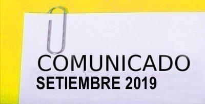 COMUNICADO SETIEMBRE 2019